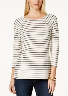 Charter Club Studded Textured Stripe Top, Only at Macy's