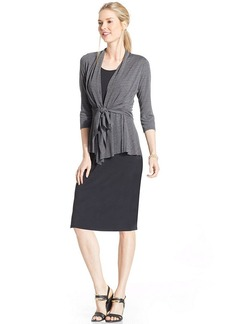 Charter Club Tie-Front Cardigan Layered Dress