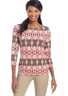 Charter Club Petite Tribal-Print Boat-Neck Top