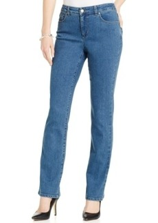 Charter Club Petite Tummy-Slimming Straight-Leg Jeans, Nantucket Wash, Only at Macy's