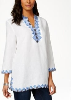 Charter Club Two-Tone Embroidered Linen Tunic, Only at Macy's