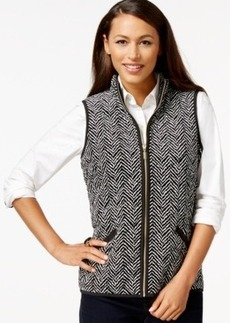 Charter Club Petite Chevron-Print Velour Vest, Only at Macy's