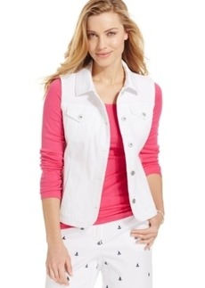 Charter Club White Denim Vest