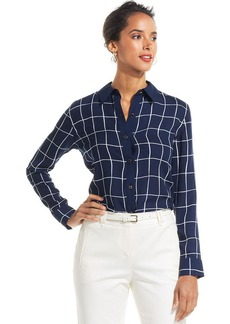 Charter Club Petite Windowpane-Print Shirt