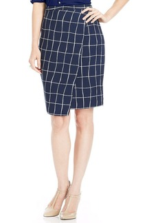 Charter Club Windowpane-Print Wrap Pencil Skirt