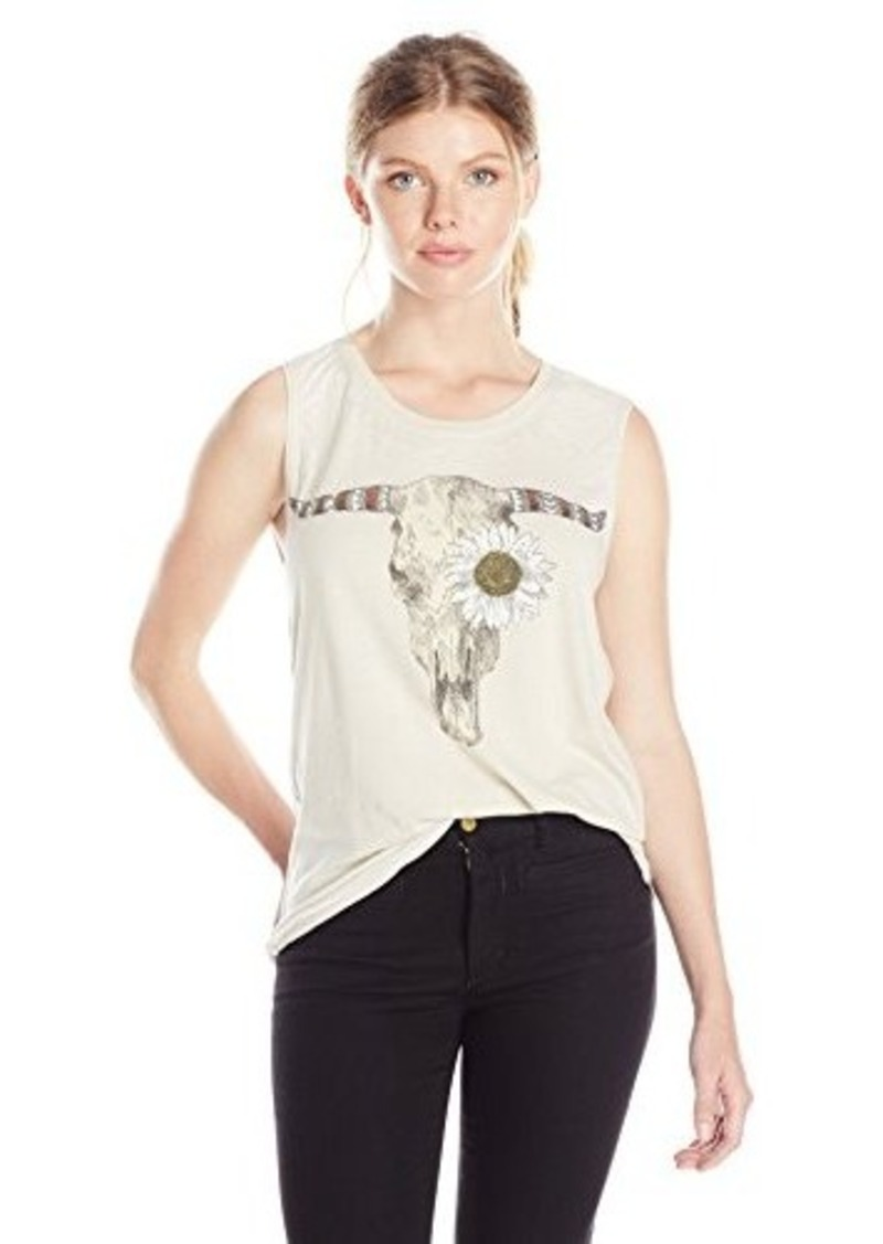 Chaser chaser women 39 s daisy skull sleeveless graphic tee for Sleeveless graphic t shirts