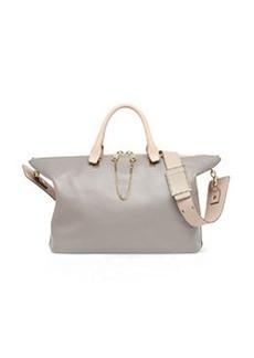 Baylee Medium Satchel Bag, Gray/Beige   Baylee Medium Satchel Bag, Gray/Beige
