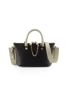 Baylee Mini Calfskin Satchel Bag, Black/Gray   Baylee Mini Calfskin Satchel Bag, Black/Gray