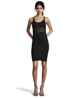 black stretch cotton 'Chloe' sleeveless dress