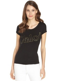 black stretch cotton scoop neck 'Chloe' t-shirt
