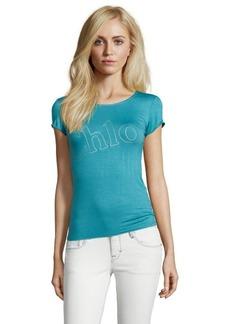 blue stretch cotton scoop neck 'Chloe' t-shirt