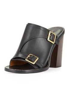 Buckled Stacked-Heel Slide Sandal, Black   Buckled Stacked-Heel Slide Sandal, Black