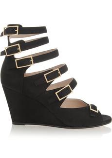 Chloé Cutout suede wedge sandals
