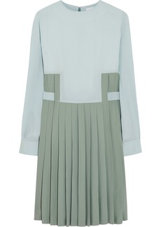 Chloé Pleated crepe and twill dress