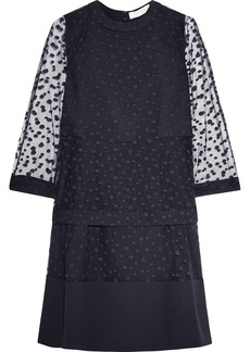 Chloé Polka dot-embroidered tulle and crepe dress