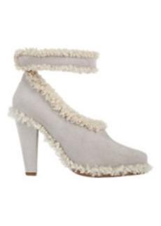 Chloé Shearling-Trim Ankle-Strap Pumps