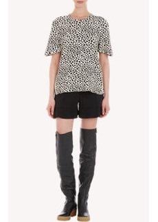 Chloé Spot-Print Jersey Zipper T-shirt
