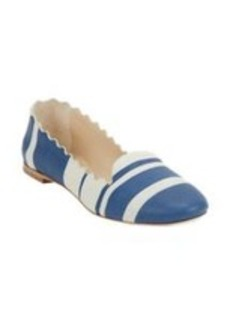 Chloé Stripe-Print Scalloped Loafers