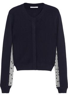 Chloé Tulle-paneled cashmere cardigan
