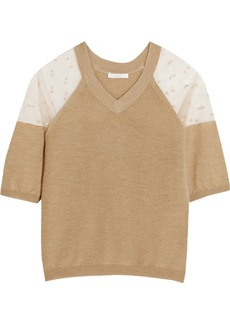 Chloé Tulle-paneled cashmere top