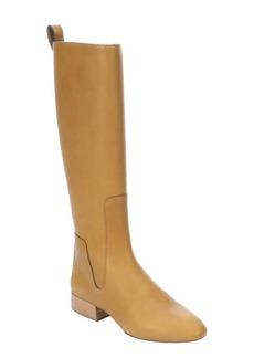 Chloe amber leather side zipper tall boots