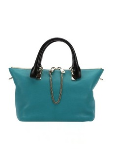 Chloe aqua and navy blue calfskin 'Baylee' convertible tote bag