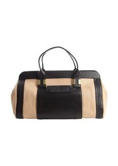 Chloe biscotti beige and black leather logo imprinted top handle bag