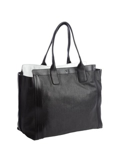 Chloe black and white top handle winged tote