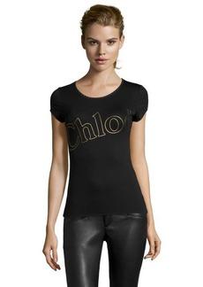 Chloe black jersey knit cotton scoop neck logo tee shirt
