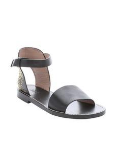 Chloe black leather ankle strap studded sandals