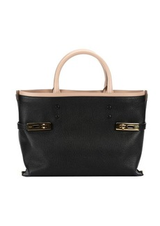 Chloe black leather buckle accent tote bag