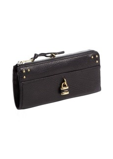 Chloe black leather gold lock studded detail continental wallet