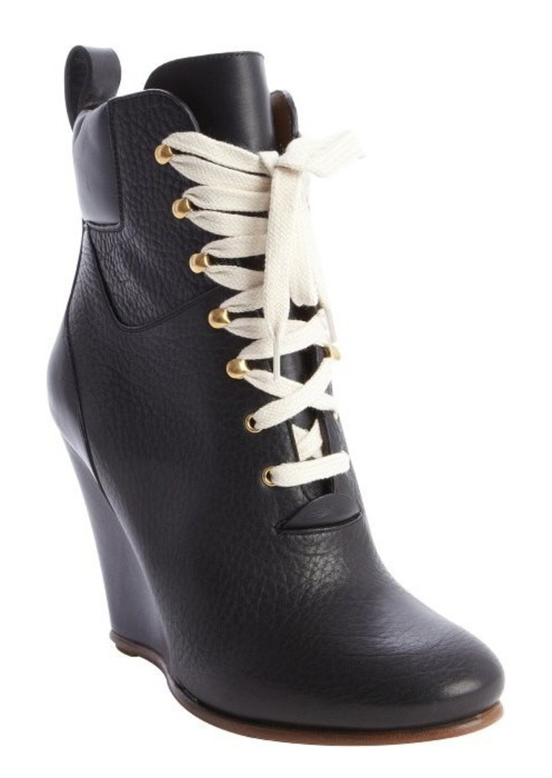 chlo 233 black leather lace up wedge ankle boots
