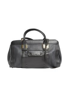 Chloe black leather logo imprinted top handle bag