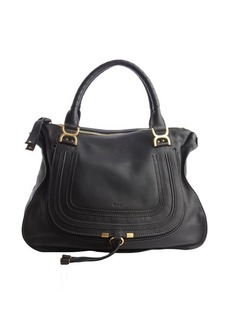 Chloe black leather 'Marcie' large stitched detailed top handle bag