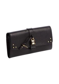 Chloe black leather padlock snap wallet