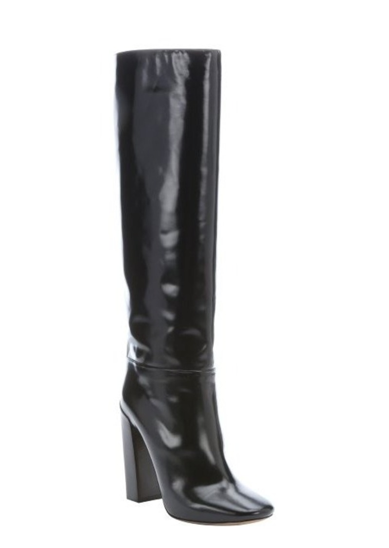 chlo 233 black patent leather knee high boots shoes