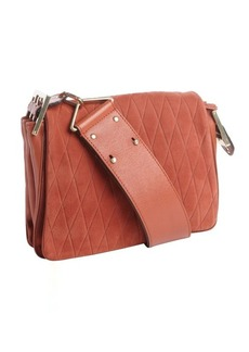 Chloe brick red quilted suede and leather shoulder bag