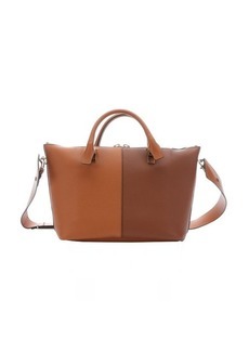 Chloe brown and rust leather colorblock 'Baylee' convertible tote