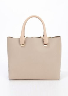 Chloe cashmere grey and rope beige leather top handle tote