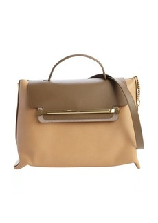 Chloe chestnut and vacchetta leather front flap 'Clare' convertible tote bag