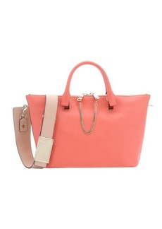 Chloe coral pop and blush nude leather 'Baylee' convertible tote