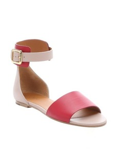 Chloe dark red and pale pink leather 'Lazise' ankle strap sandals