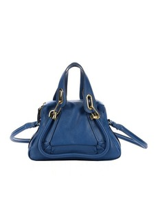 Chloe factory blue calfskin small 'Paraty' convertible top handle bag
