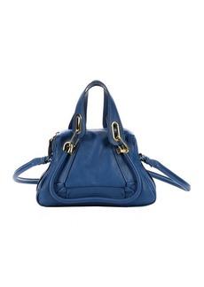 Chloe factory blue calfskin small 'Paraty' convertible top handle bag