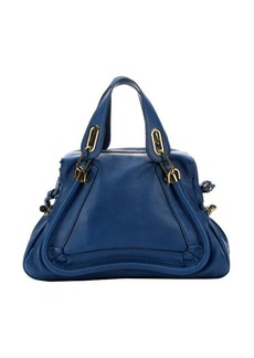 Chloe factory blue leather medium 'Paraty' convertible satchel