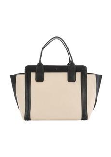 Chloe husky white and black leather 'Alison' tote bag