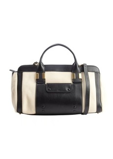 Chloe husky white and black leather convertible top handle bag