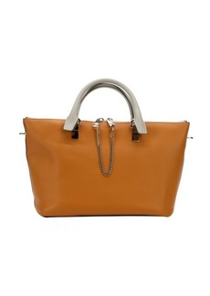 Chloe maroon and teak leather 'Baylee' convertible tote