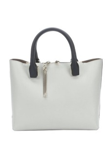 Chloe marshmallow grey and black leather top handle tote